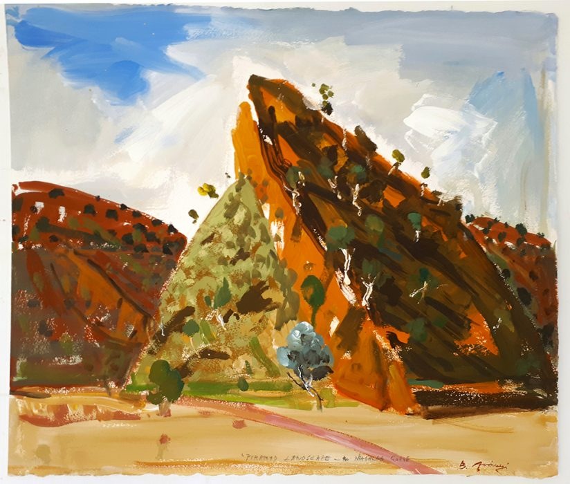 Acrylic Plein Air Painting by BelaIvanyi 'PYRAMID HILL-N'DAHLA GORGE'