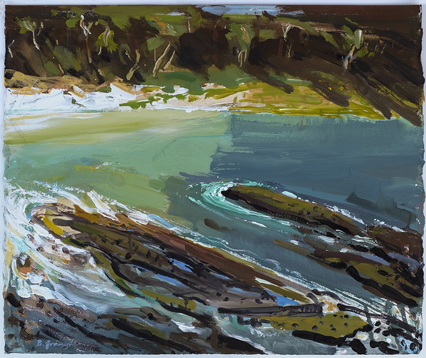 Acrylic Plein Air Painting by BelaIvanyi 'LOOKING DOWN TO DEPOT BEACH-SOUTH-COAST'