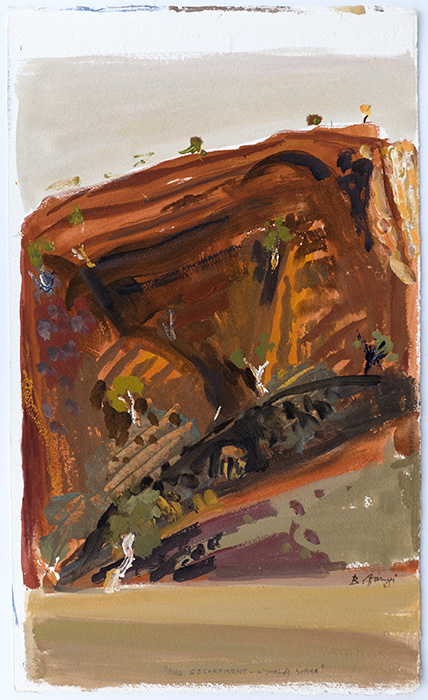 Acrylic Plein Air Painting by BelaIvanyi 'RED ESCARPMENT-N'DAHLA GORGE'