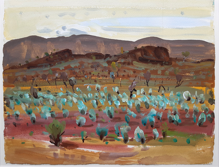 Acrylic Plein Air Painting by BelaIvanyi 'THISTLES IN THE DRY FLOOD PLAINS'